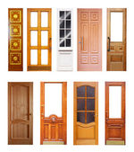 Set of wooden doors. Isolated on white — Stock Photo