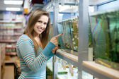 Woman in petshop — Stockfoto