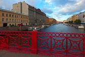 Red Bridge through Moyka River — Stock Photo