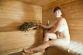 Woman at sauna — Stock Photo