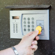 Close-up of uses intercom — Stock Photo #18200185