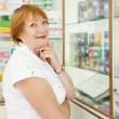 Woman chooses contraceptives - Foto Stock