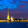 Peter and Paul Fortress in night — Stock Photo