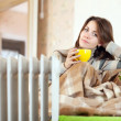 Woman near oil heater at home — Stock Photo #18200771