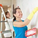 Постер, плакат: Happy women making repairs