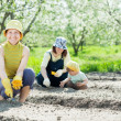 Women with child works at vegetables garden — Stock Photo #18201281