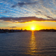Panoramic view of Neva river in dawn - Stock Photo