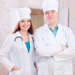 Two doctors in clinic interior — Stock Photo