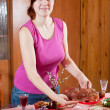 Royalty-Free Stock Photo: Woman serving Easter table