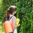 Gardener working with garden spray — Stock Photo #18202699