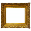 Gold picture frame. Isolated over white - Stock Photo