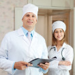 Doctor and nurse in clinic — Stock Photo #18203807