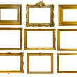 Set of gold picture frames. — ストック写真
