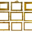 Stock Photo: Set of gold picture frames.