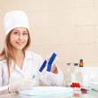 Nurse with tourniquet in medical laboratory — Stock Photo