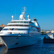 Stock Photo: White cruise ship at Neva. Saint Petersburg