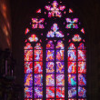 Stained-glass window in Saint Vitus Cathedral - Stock Photo