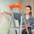 Woman paints wall with brush - Stock Photo