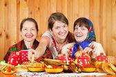 Women celebrating Shrovetide — Stock Photo