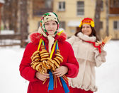 Two girls during Shrovetide — Stock Photo