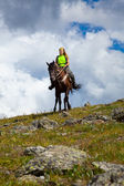 Vrouwelijke ruiter op paard — Stockfoto