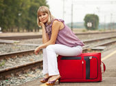 Woman waiting train — Foto Stock