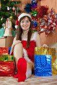 Girl celebrating Christmas — Stock Photo