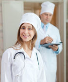 Doctors in clinic interior — Stock Photo