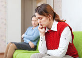 Adult daughter and mother having quarrel — Stock Photo