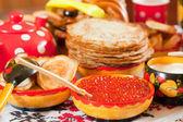Pancake with caviar — Stock Photo