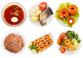 Top view of few plates with food — Stock Photo