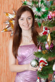 Woman celebrating Christmas — Стоковое фото