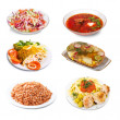 Set of few plates with food — Stock Photo