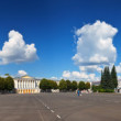 Full panorama of Yaroslavl - city administration and Church of E - Stock Photo