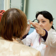 Stock Photo: Ophthalmologist and patient testing eyesight