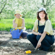 Stock Photo: Women sows seeds in soil