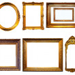 Set of gilded frames. Isolated over white background — Stock Photo #23477413