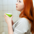 Teen girl gargling throat - Stock Photo
