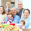 Large joyful three generations family — Stock Photo