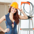 ragazza di bellezza sexy in hardhat — Foto Stock