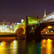 Pedestrian Bogdan Khmelnitsky Bridge in night - ストック写真