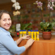 Smiling mature woman chooses fertilization in bottle at garden s — Stock Photo