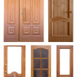 Stock Photo: Set of wooden doors. Isolated over white