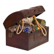 Treasure chest over white background — Stock Photo