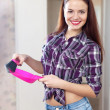 Portrait of happy pretty housewife — Stock Photo