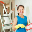 Women making repairs at living room — Stock Photo