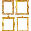 Set of few gold picture frames on white — Stock Photo