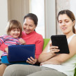 Happy family with electronic devices — Stock Photo #23479663