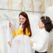 Two women  at wedding store — Stock Photo