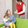 Woman pays nanny for her baby — Stock Photo